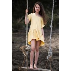 Geltona, medvilninė suknelė mergaitei