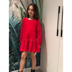 Raudona, medvilninė suknelė