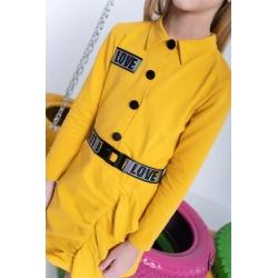 Geltona, tinklinio trikotažo, stilinga suknelė mergaitei