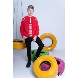 Raudonas, tinklinio trikotažo džemperis